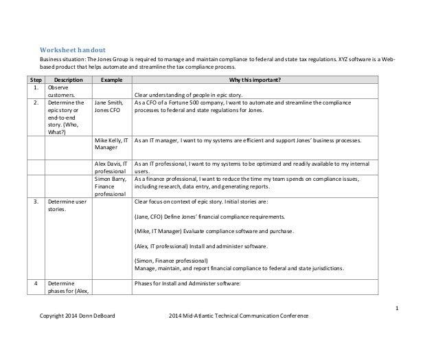 1 Copyright2014DonnDeBoard 2014Mid‐AtlanticTechnicalCommunicationConference Worksheethandout Businesssituatio...