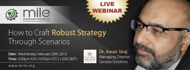 Scenario planning and strategy webinar dr. awais e siraj genzee solutions