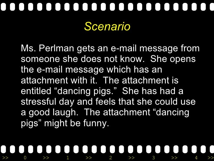Scenario <ul><li>Ms. Perlman gets an e-mail message from someone she does not know.  She opens the e-mail message which ha...