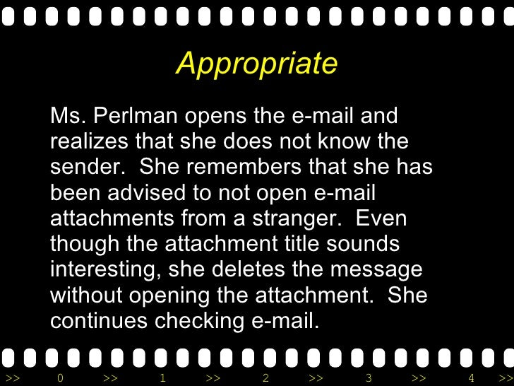 Appropriate <ul><li>Ms. Perlman opens the e-mail and realizes that she does not know the sender.  She remembers that she h...