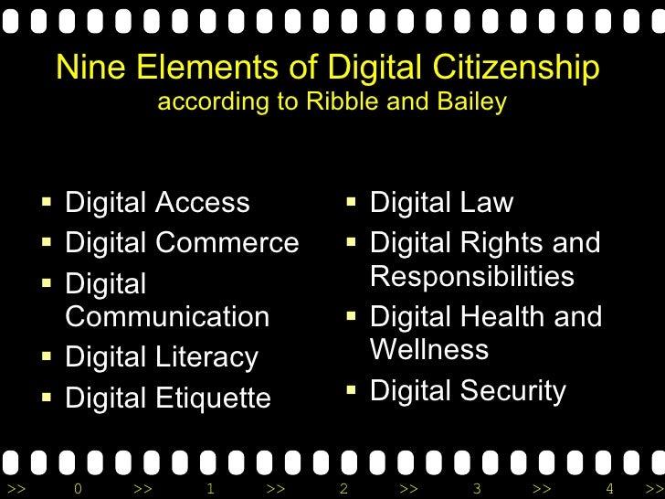 Nine Elements of Digital Citizenship   according to Ribble and Bailey <ul><li>Digital Access </li></ul><ul><li>Digital Com...