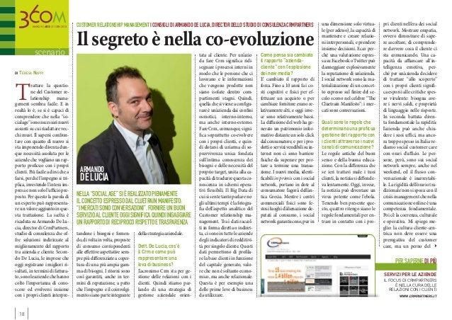 Customer relationship management i consigli di Armando De Lucia, director dello studio di consulenza CrmPartners          ...