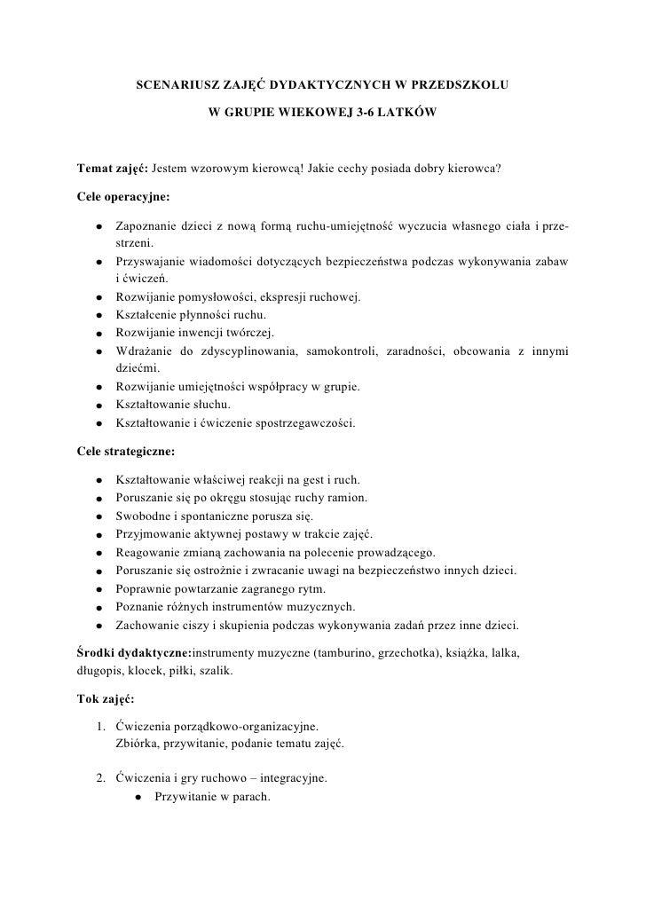SCENARIUSZ ZAJĘĆ DYDAKTYCZNYCH W PRZEDSZKOLU                        W GRUPIE WIEKOWEJ 3-6 LATKÓWTemat zajęć: Jestem wzorow...