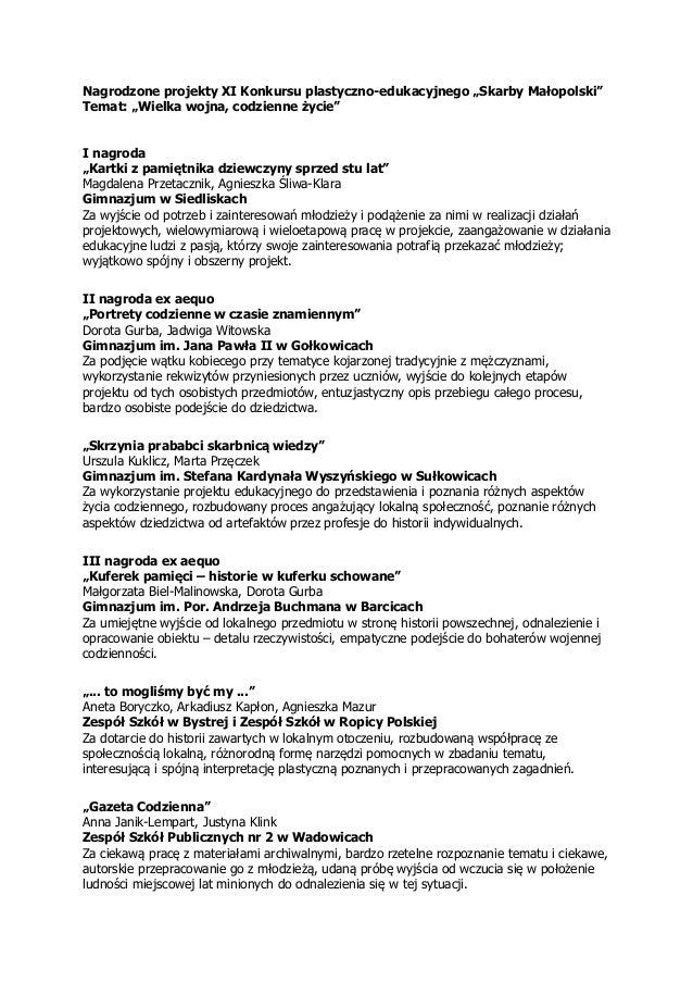 """Nagrodzone projekty XI Konkursu plastyczno-edukacyjnego """"Skarby Małopolski"""" Temat: """"Wielka wojna, codzienne życie"""" I nagro..."""