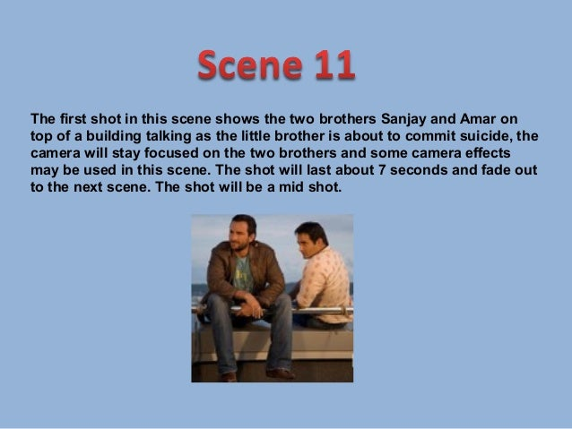 The first shot in this scene will show Sanjay sitting down on a sofaas his girlfriend walks into the scene. The shot will ...