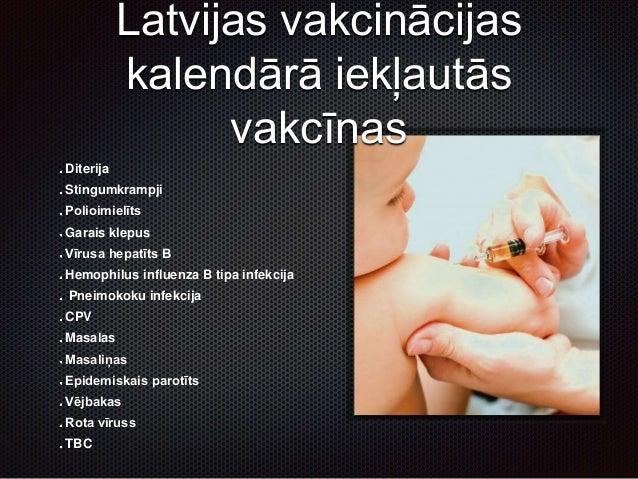 Latvijas vakcinācijas kalendārā iekļautās vakcīnas Diterija Stingumkrampji Polioimielīts Garais klepus Vīrusa hepatīts B H...