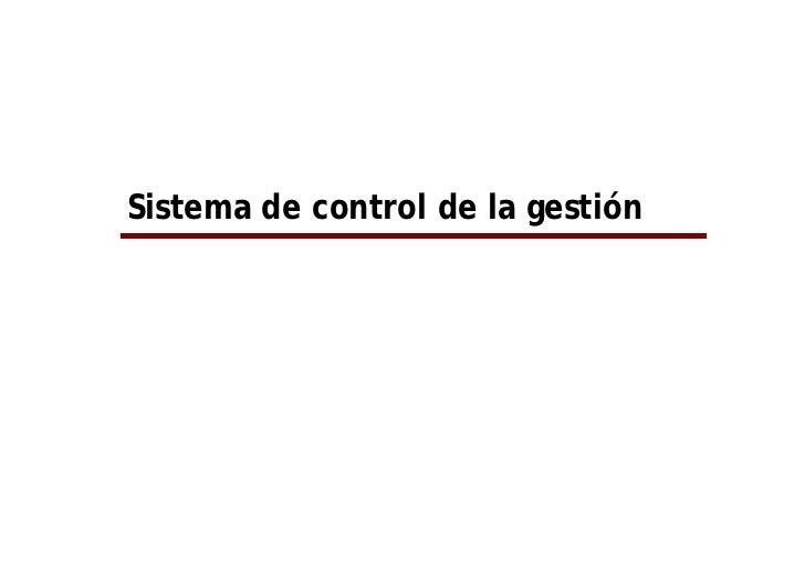 Sistema de control de la gestión