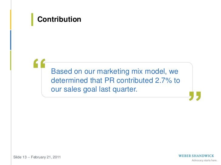 Contribution                       Based on our marketing mix model, we                       determined that PR contribut...