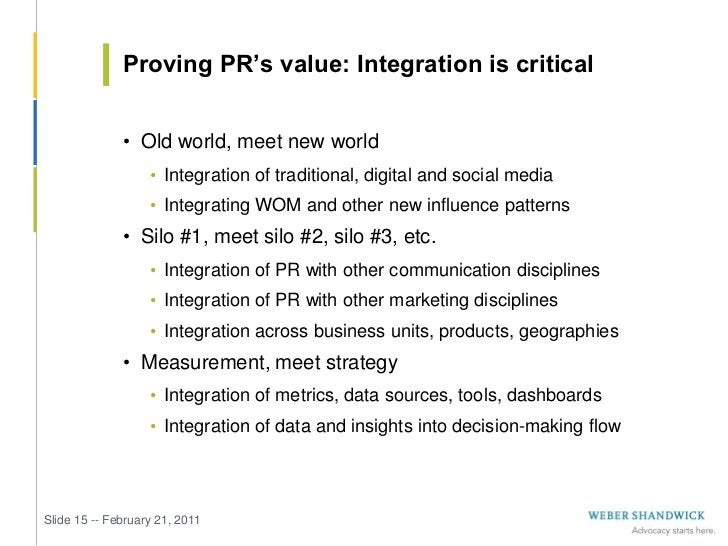 Proving PR's value: Integration is critical              • Old world, meet new world                   • Integration of tr...