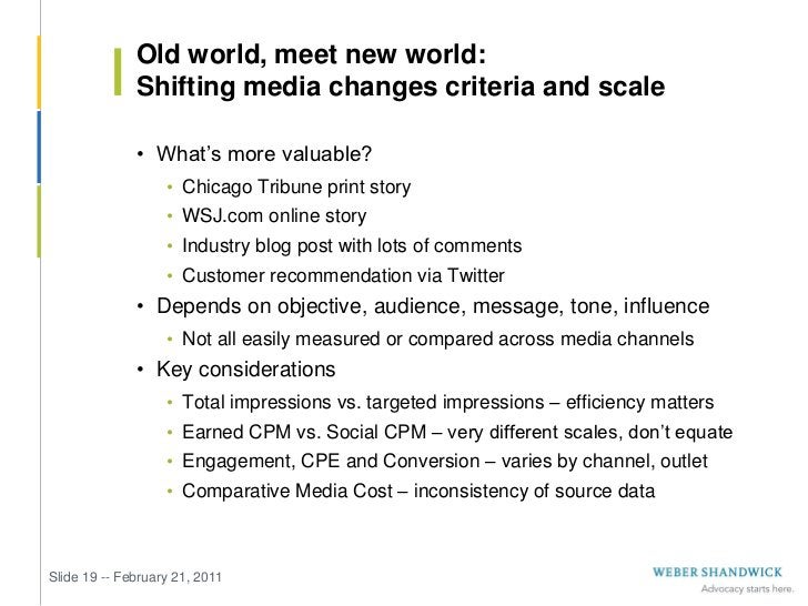 Old world, meet new world:              Shifting media changes criteria and scale              • What's more valuable?    ...