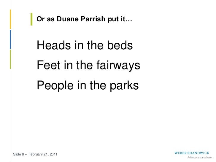 Or as Duane Parrish put it…              Heads in the beds              Feet in the fairways              People in the pa...