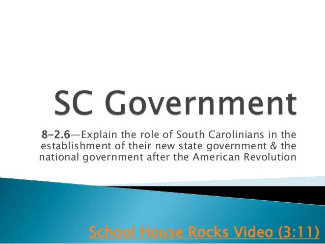 8-2.6—Explain the role of South Carolinians in theestablishment of their new state government & thenational government aft...