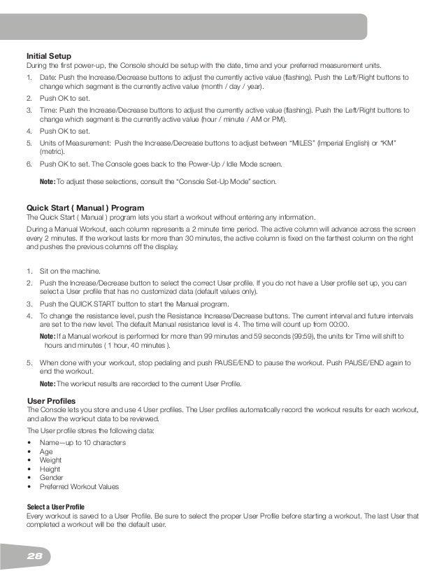 schwinn 270 recumbent bike manual