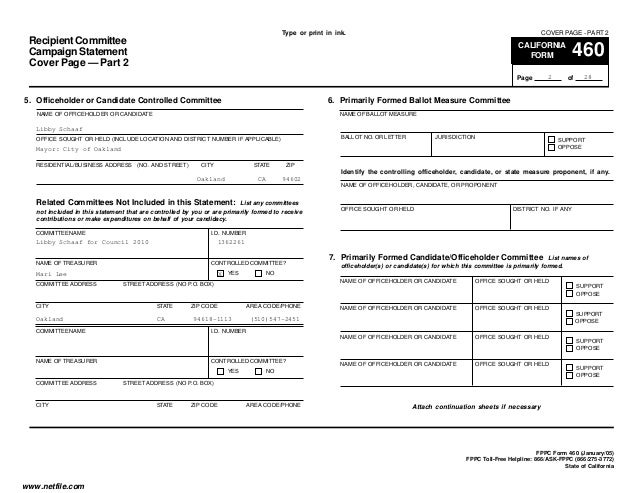 Libby Schaaf FPPC Form 460 10-1-14 to 10-18-14