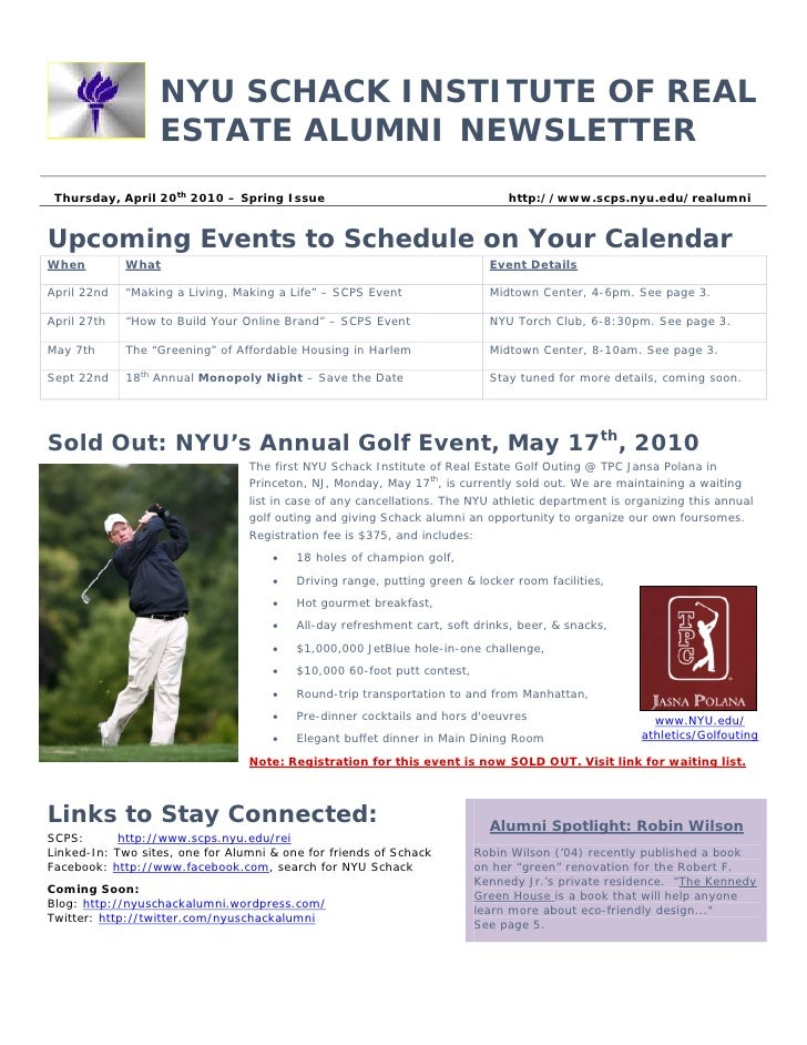 NYU SCHACK INSTITUTE OF REAL                   ESTATE ALUMNI NEWSLETTER  Thursday, April 20th 2010 – Spring Issue         ...