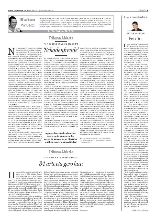 Diario de Noticias de Álava Sábado, 19 de febrero de 2011 OPINIÓN 5 ONDA VASCA 98.0 FM El lapitzero Marruecos Atención a M...