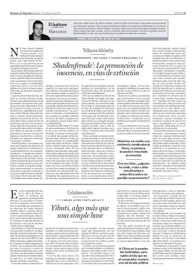 Noticias de Gipuzkoa Sábado, 19 de febrero de 2011 OPINIÓN 5 Colaboración P O R C A R L O S A I T O R Y U S T E A R I J A ...