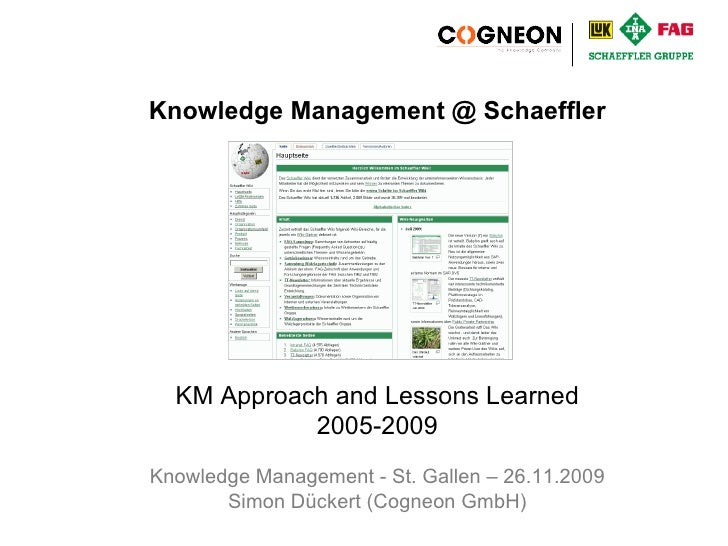 KM - St. Gallen - 26.11.2009 Knowledge Management @ Schaeffler KM Approach and Lessons Learned 2005-2009 Knowledge Managem...