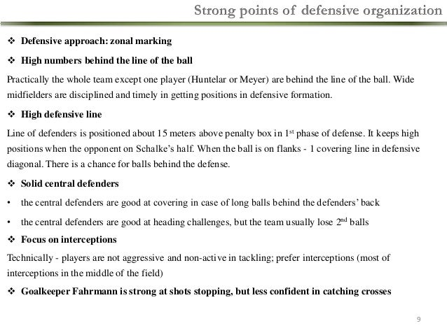 Strong points of defensive organization  Defensive approach: zonal marking  High numbers behind the line of the ball  Pr...