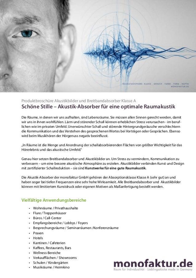 Raumakustik verbessern  Produktbroschüre Akustikbilder und Breitbandabsorber Klasse A  Schöne Stille – Akustik-Absorber fü...
