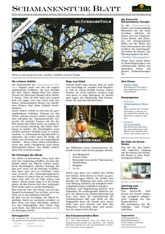 Schamanenstube Blatt 04.04.2016 Schweizer Schamanismus Zeitung LXXVI der Schamanenstube – Aktuelle Publikationen der Scham...