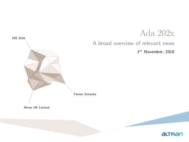 Ada 202x A broad overview of relevant news 1st November, 2016 HIS 2016 Altran UK Limited Florian Schanda 1