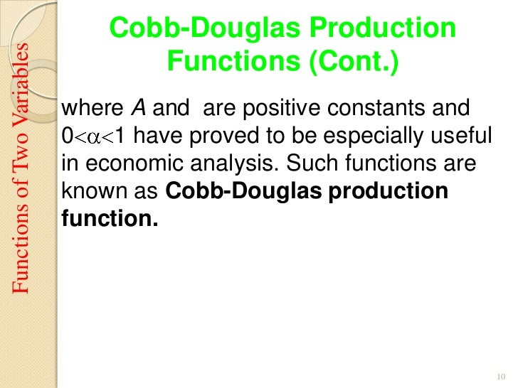 explain cobb douglas production function Chapter 3 2008 pearson addison-wesley all rights reserved 3-2 chapter outline the production function the demand for labor the supply of labor labor market equilibrium - cobb-douglas production function works well for us economy: y = ak03 n07 (32.