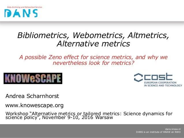 dans.knaw.nl DANS is an institute of KNAW en NWO Bibliometrics, Webometrics, Altmetrics, Alternative metrics A possible Ze...