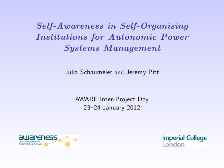 Self-Awareness in Self-OrganisingInstitutions for Autonomic Power       Systems Management      Julia Schaumeier and Jerem...