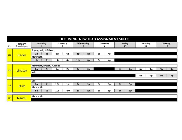 JET LIVING NEW LEAD ASSIGNMENT SHEET Ext  252  251  228  224  January Travel Agent  Becky  Lindsay  Erica  Naomi  Monday 6...