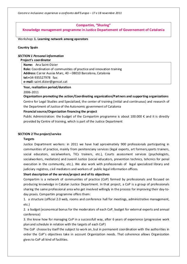 """Carcere e inclusione: esperienze a confronto dall'Europa – 17 e 18 novembre 2011Compartim, """"Sharing""""Knowledge management p..."""