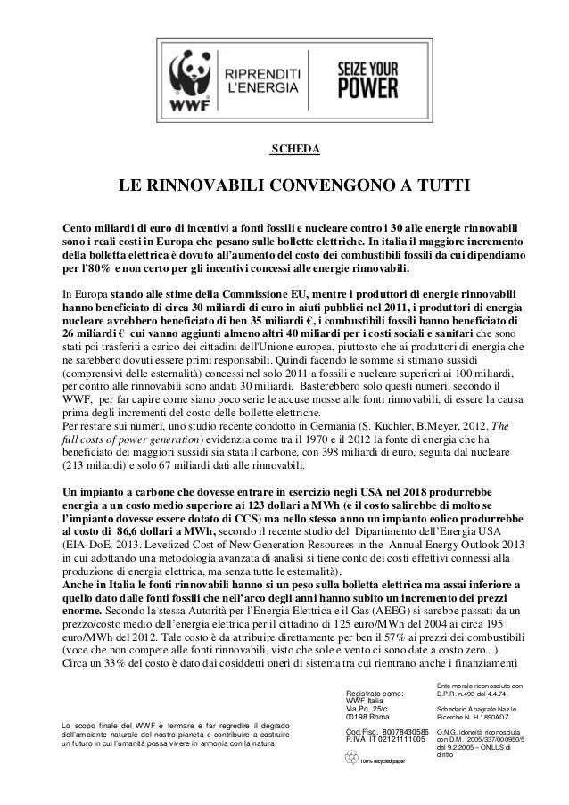 SCHEDA  LE RINNOVABILI CONVENGONO A TUTTI Cento miliardi di euro di incentivi a fonti fossili e nucleare contro i 30 alle ...
