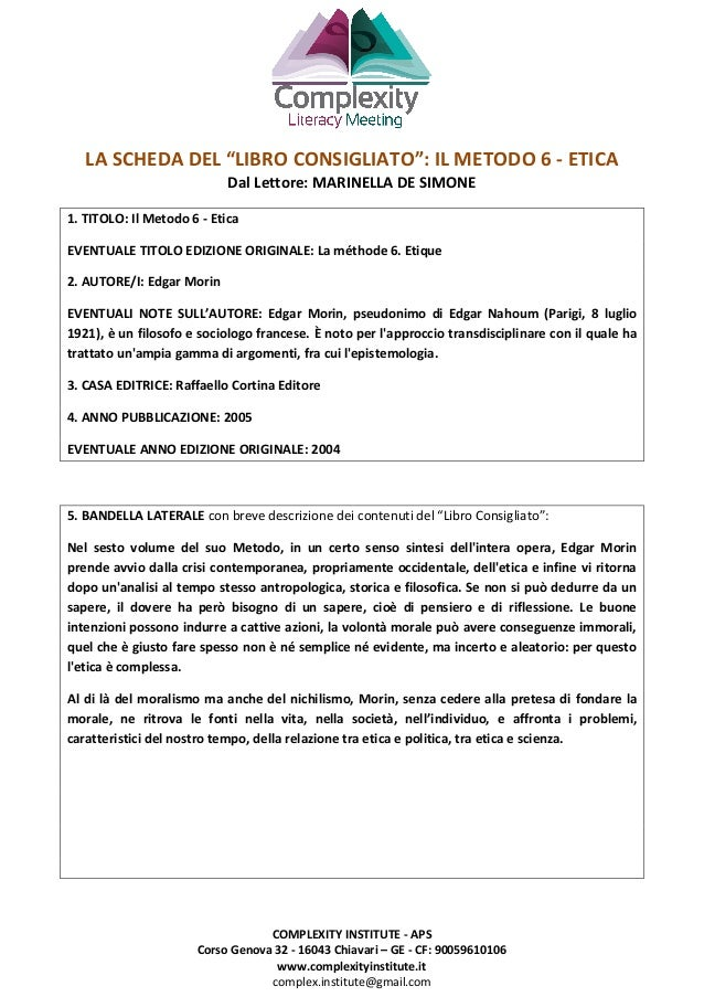 COMPLEXITY INSTITUTE - APS Corso Genova 32 - 16043 Chiavari – GE - CF: 90059610106 www.complexityinstitute.it complex.inst...