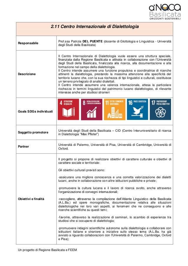 Un progetto di Regione Basilicata e FEEM 2.11 Centro Internazionale di Dialettologia Responsabile Prof.ssa Patrizia DEL PU...