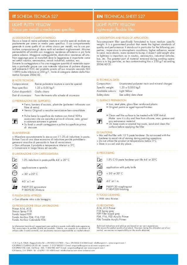 ICR SPRINT S27 LIGHT PUTTY YELLOW - Stucco per metalli a medio peso specifico / Lightweight flexible filler Slide 2