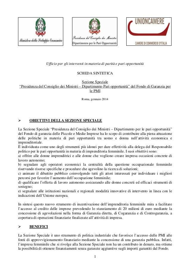 """Ufficio per gli interventi in materia di parità e pari opportunità SCHEDA SINTETICA Sezione Speciale """"Presidenza del Consi..."""