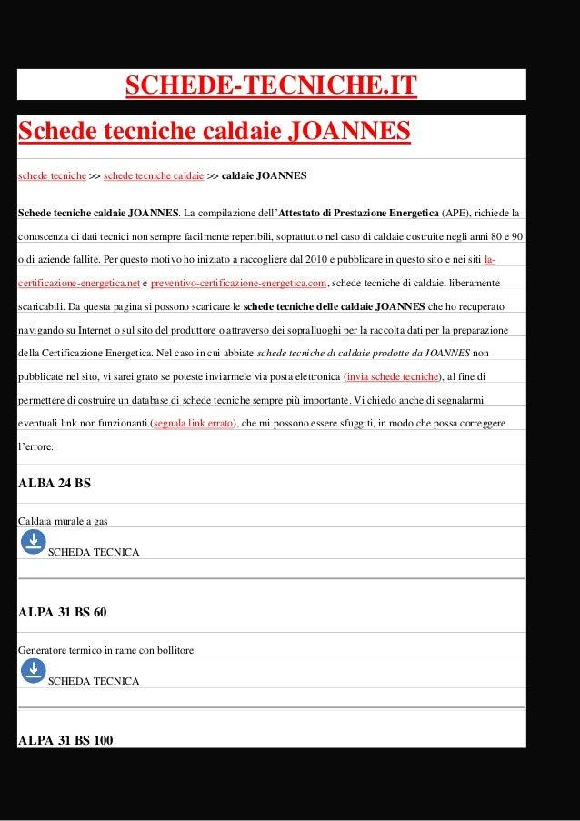 schede tecniche caldaie joannes