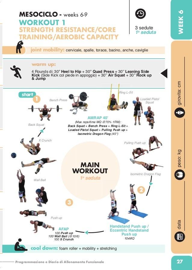 Programmazione e Diario di Allenamento Funzionale 27 joint mobility: cervicale, spalle, torace, bacino, anche, caviglie co...