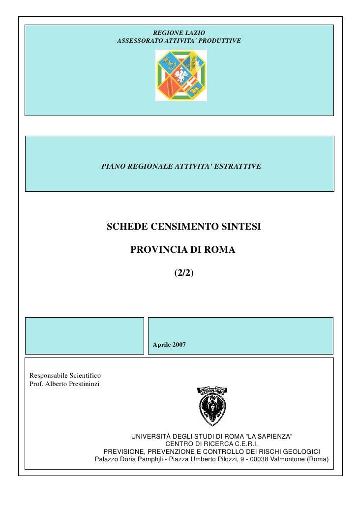 REGIONE LAZIO                               ASSESSORATO ATTIVITA PRODUTTIVE                            PIANO REGIONALE ATT...