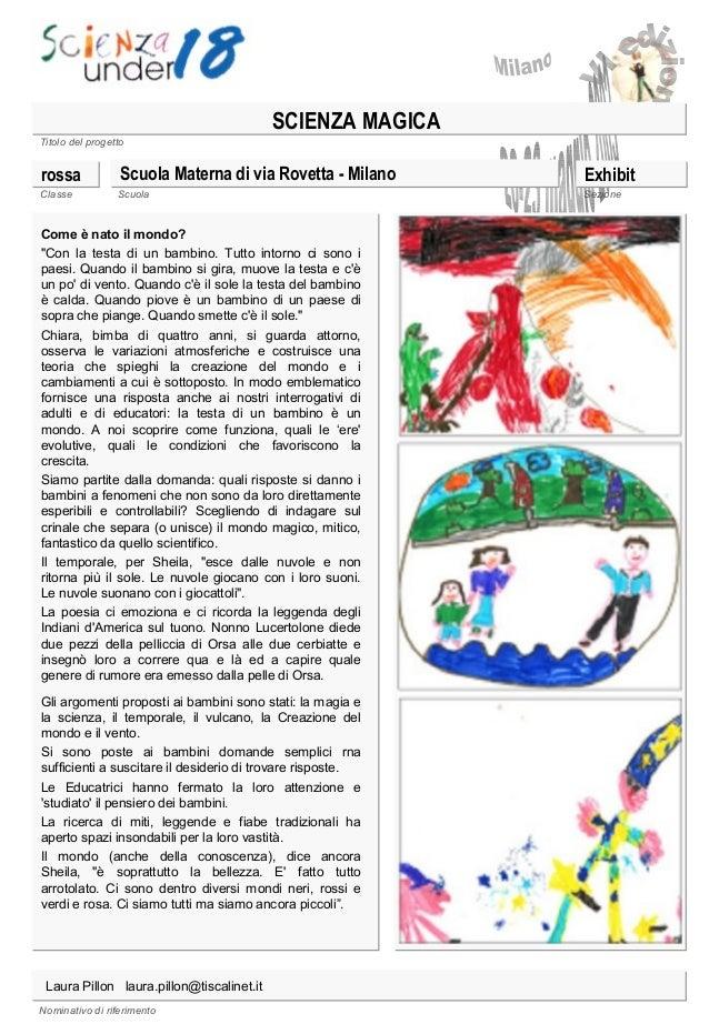 """SCIENZA MAGICA Titolo del progetto  rossa Classe  Scuola Materna di via Rovetta - Milano Scuola  Come è nato il mondo? """"Co..."""