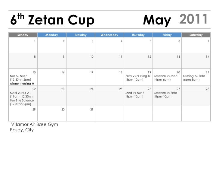 th6 Zetan Cup                                                                  May 2011    Sunday          Monday        T...