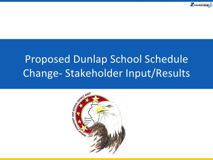 Proposed Dunlap School Schedule Change- Stakeholder Input/Results