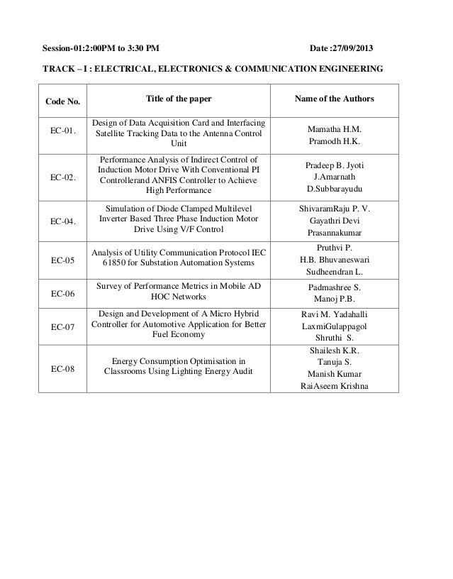 Session-01:2:00PM to 3:30 PM  Date :27/09/2013  TRACK – I : ELECTRICAL, ELECTRONICS & COMMUNICATION ENGINEERING  Code No. ...