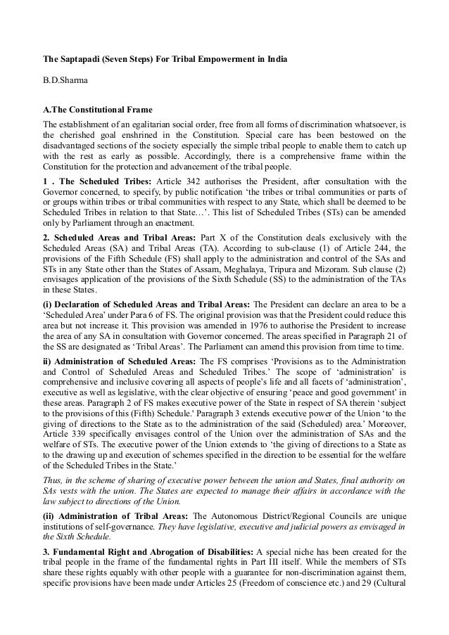 The Saptapadi (Seven Steps) For Tribal Empowerment in India  B.D.Sharma  A.The Constitutional Frame  The establishment of ...