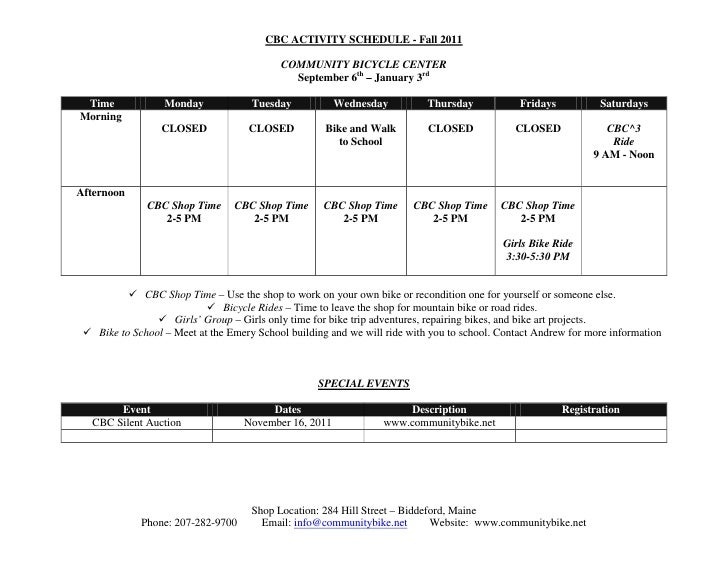 CBC ACTIVITY SCHEDULE - Fall 2011                                           COMMUNITY BICYCLE CENTER                      ...