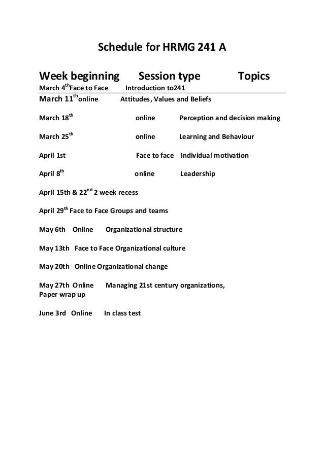 Schedule for HRMG 241 AWeek beginning                    Session type               Topics            thMarch 4 Face to Fa...