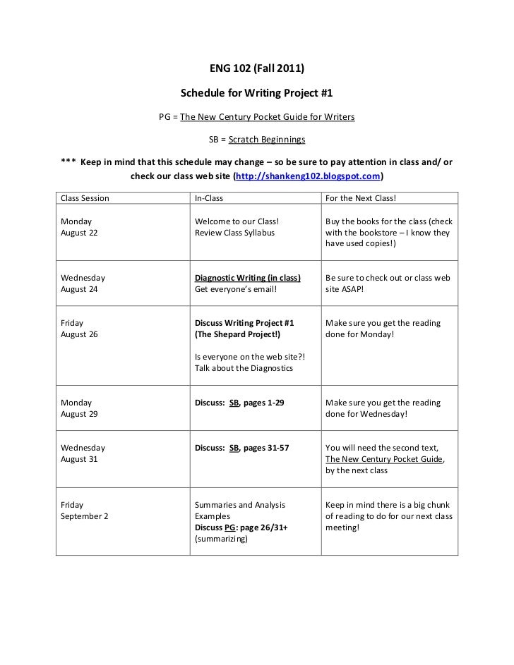 ENG 102 (Fall 2011)<br />Schedule for Writing Project #1<br />PG = The New Century Pocket Guide for Writers<br />SB = Scra...