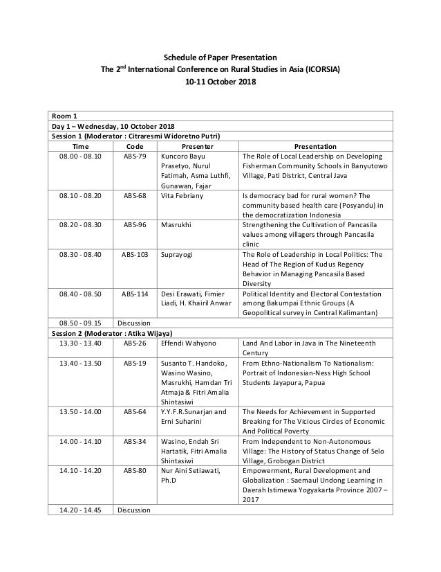 Schedule of Paper Presentation The 2nd International Conference on Rural Studies in Asia (ICORSIA) 10-11 October 2018 Room...