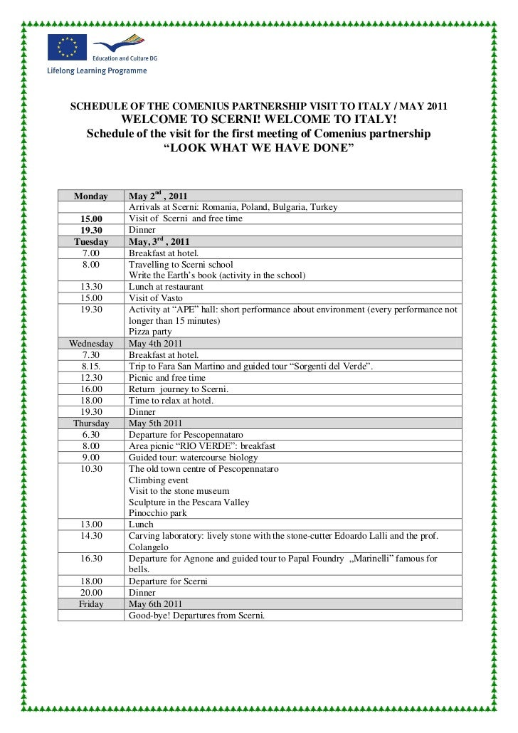 schedule of the comenius partnership visit to italy