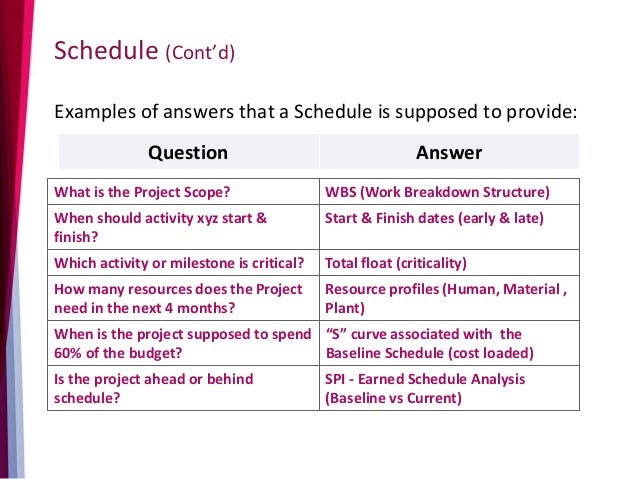 Schedule (Cont'd) Examples of answers that a Schedule is supposed to provide: Question Answer What is the Project Scope? W...